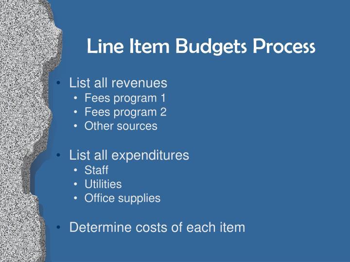 Line Item Budgets Process