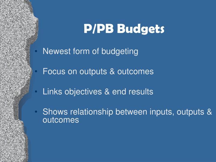 P/PB Budgets