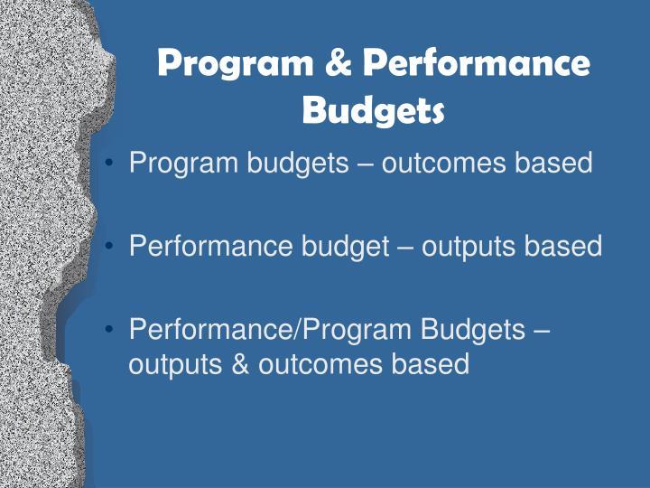 Program & Performance Budgets