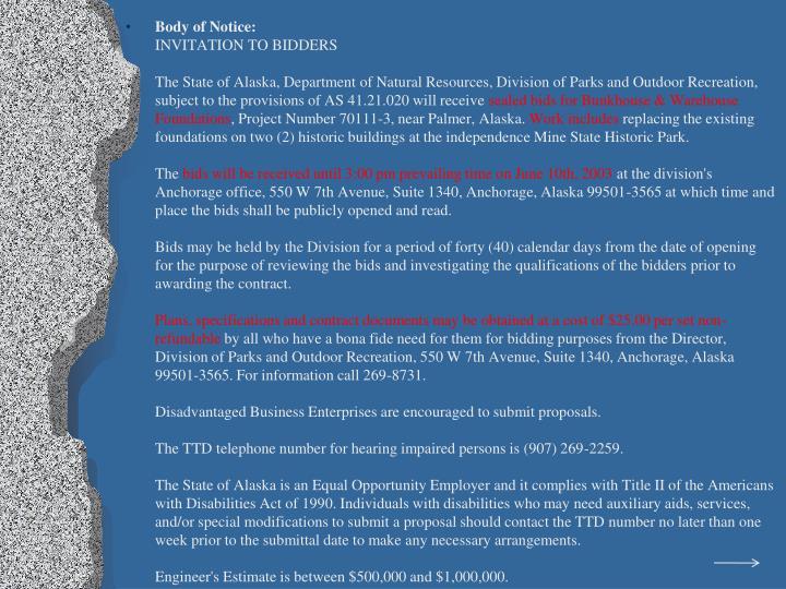 Body of Notice: