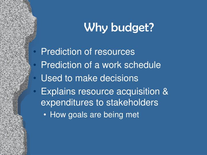 Why budget?