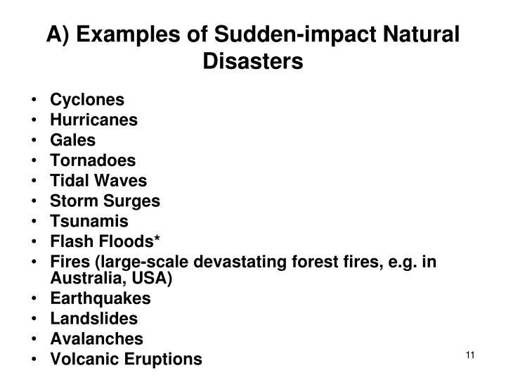 A) Examples of Sudden-impact Natural Disasters