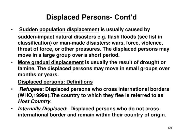 Displaced Persons- Cont'd
