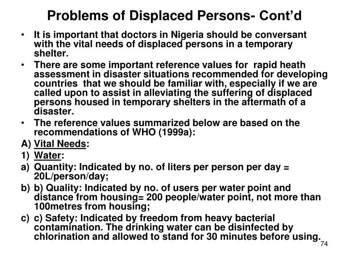 Problems of Displaced Persons- Cont'd