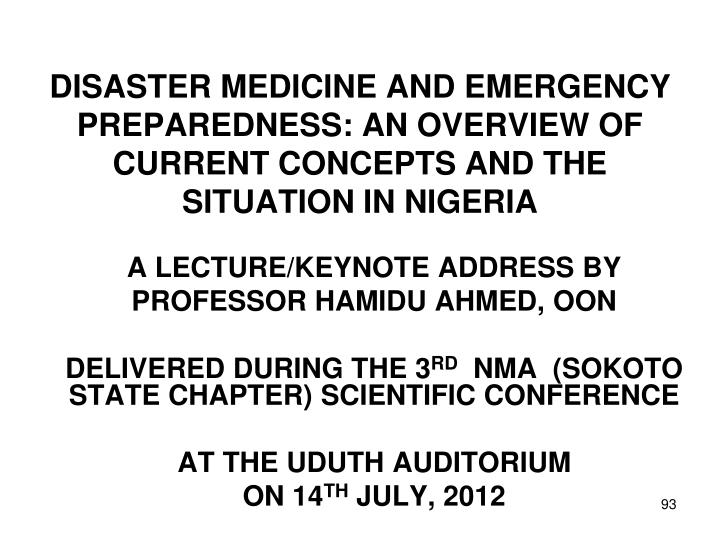 A LECTURE/KEYNOTE ADDRESS BY