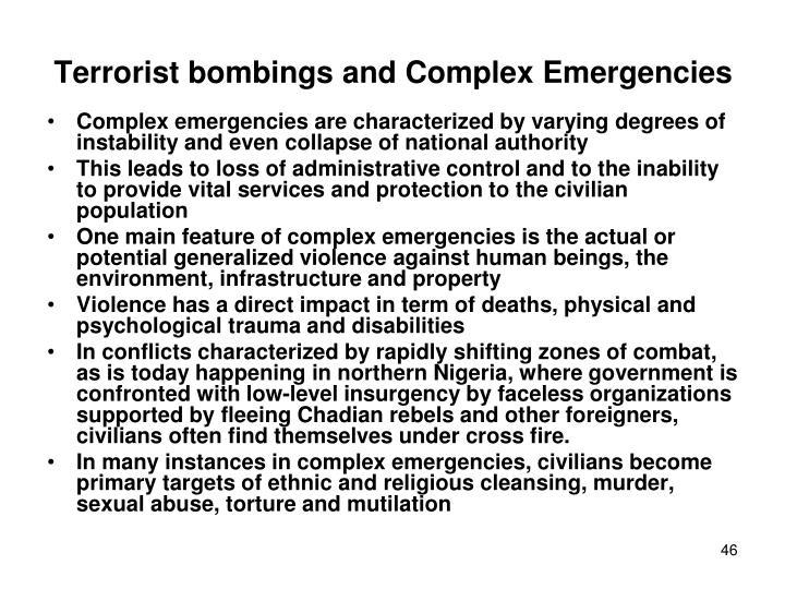 Terrorist bombings and Complex Emergencies