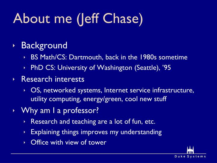 About me jeff chase