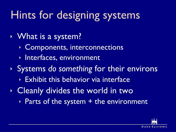 Hints for designing systems