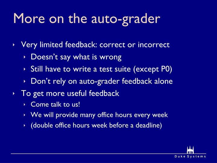 More on the auto-grader