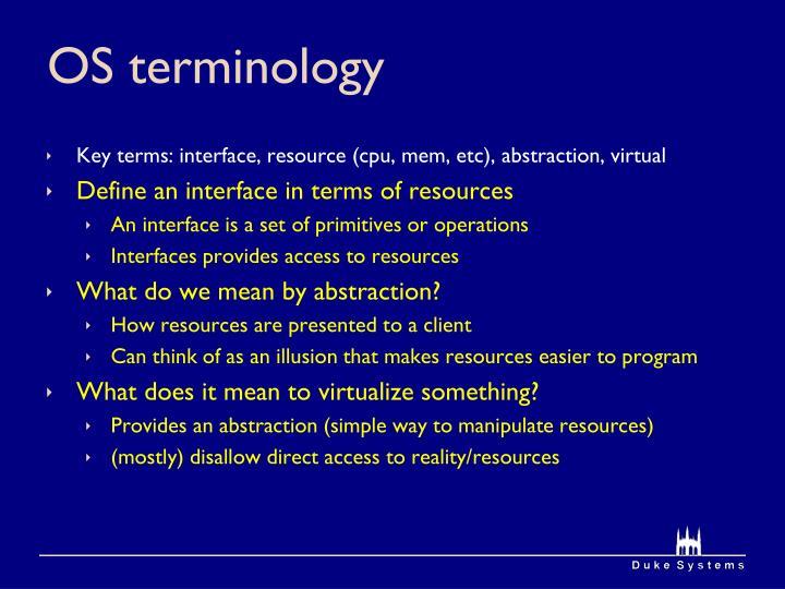 OS terminology
