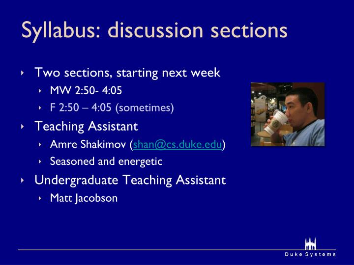 Syllabus: discussion sections
