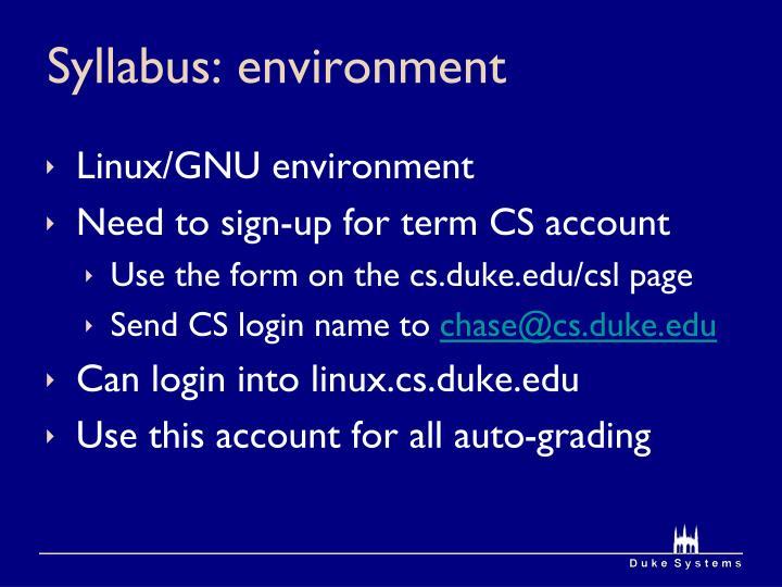 Syllabus: environment