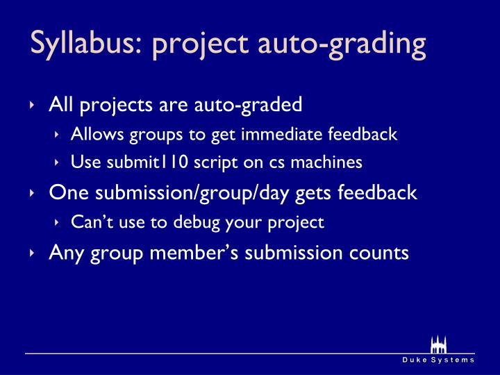 Syllabus: project auto-grading