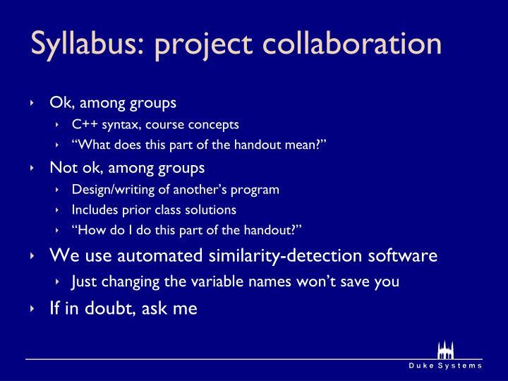 Syllabus: project collaboration