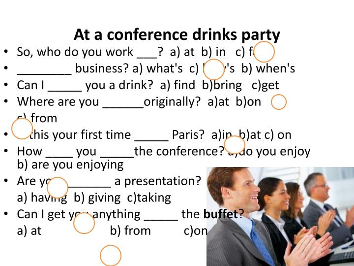 At a conference drinks party