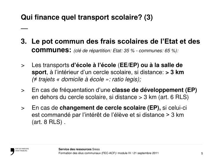 Qui finance quel transport scolaire? (3)
