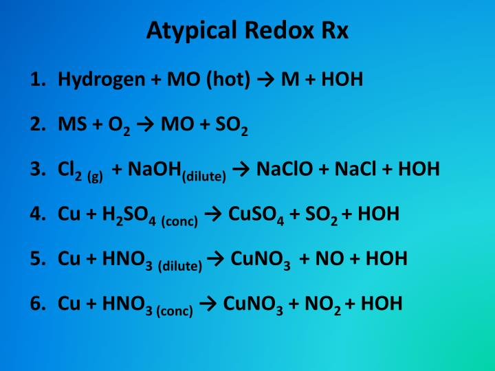 Atypical Redox Rx