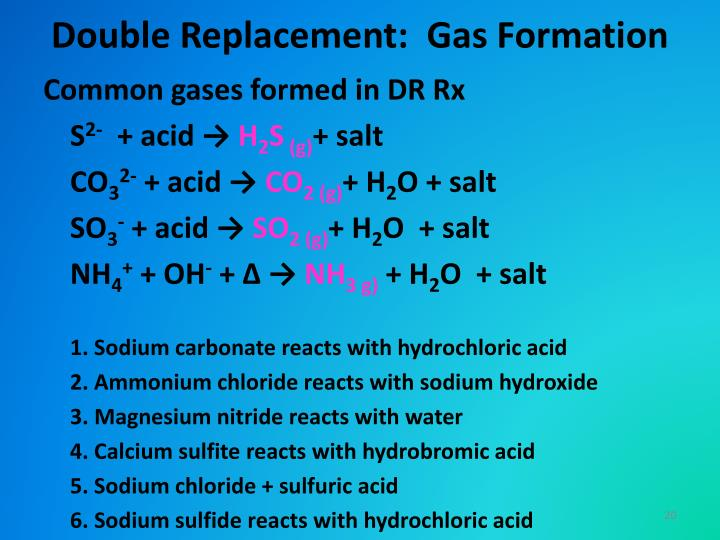 Double Replacement:  Gas Formation