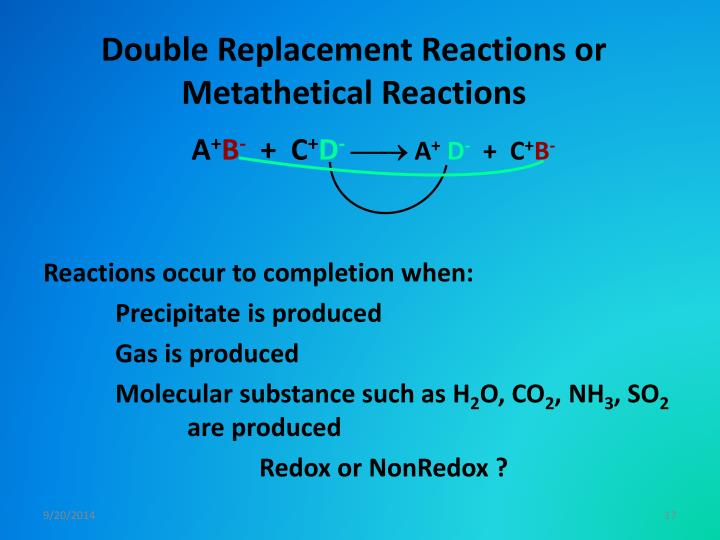 Double Replacement Reactions or