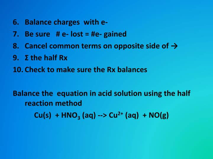 Balance charges  with e-
