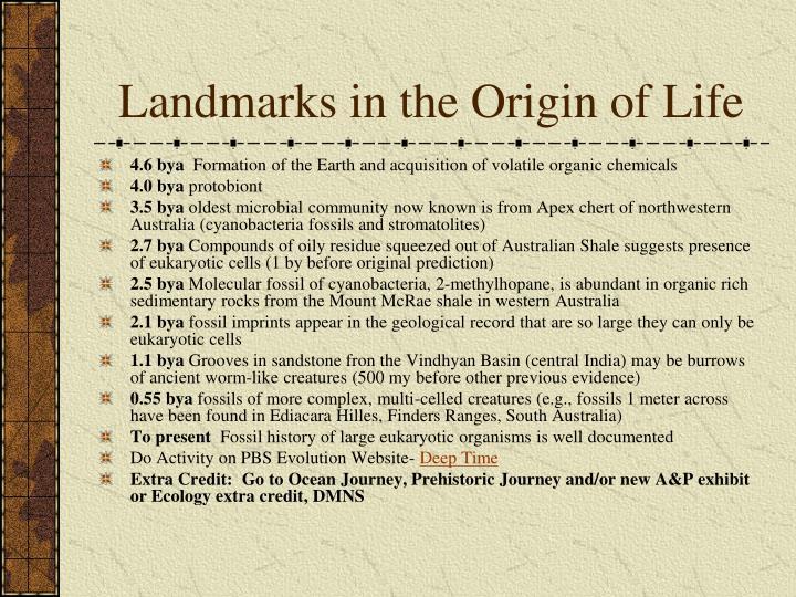 Landmarks in the Origin of Life