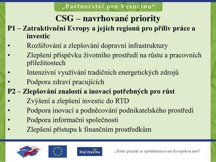 CSG – navrhované priority