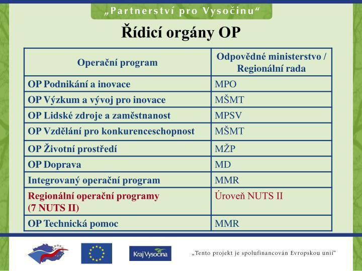 Řídicí orgány OP