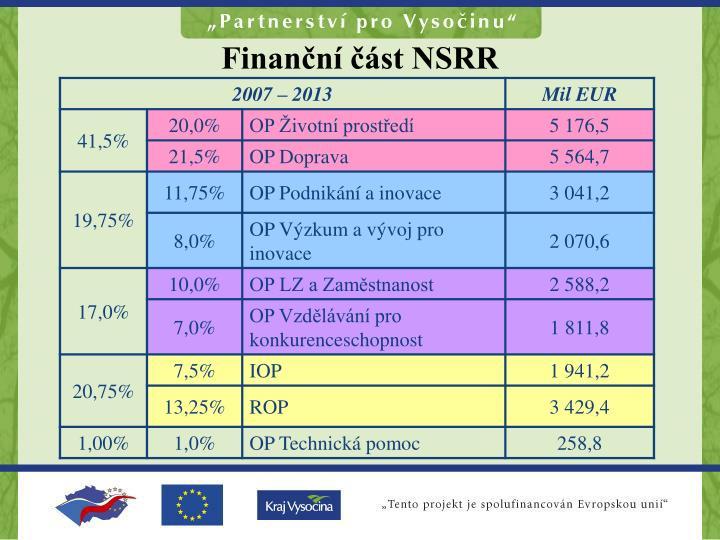 Finanční část NSRR