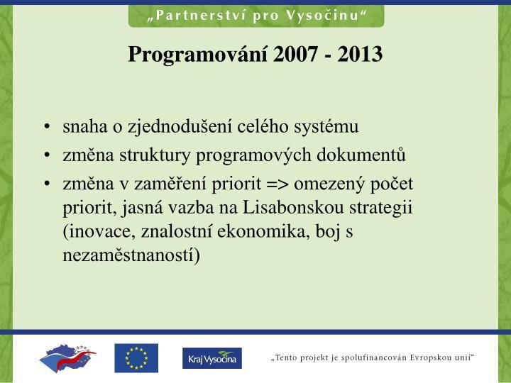 Programov n 2007 2013