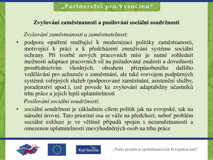 Zvyšování zaměstnanosti a posilování sociální soudržnosti