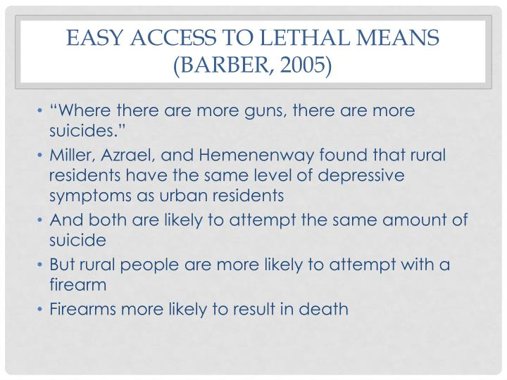 Easy access to lethal means (Barber, 2005)