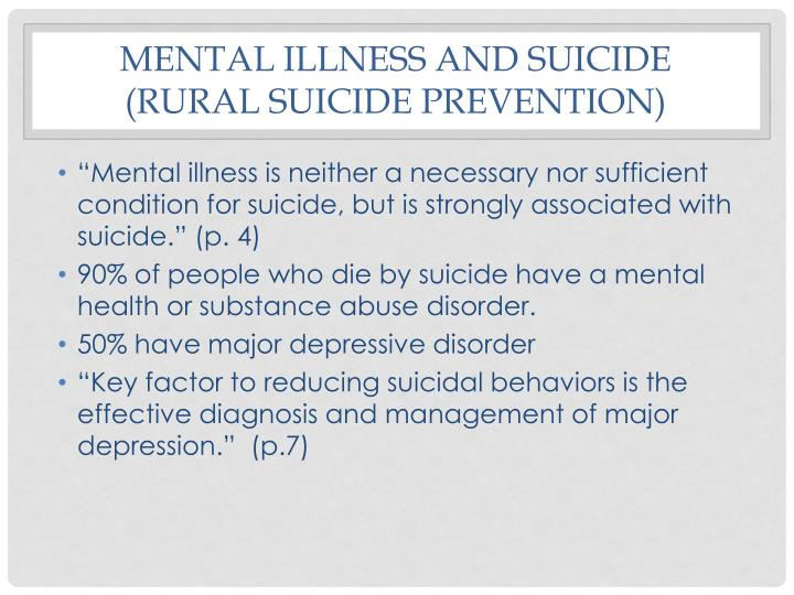Mental Illness and suicide