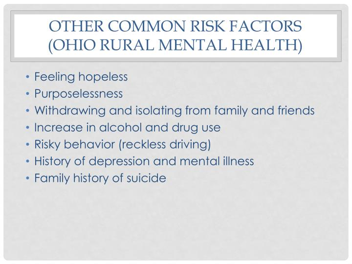 Other common risk factors
