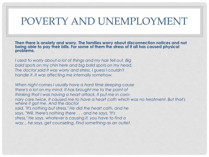 Poverty and unemployment