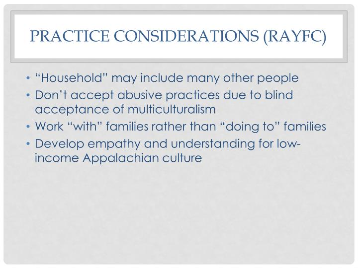 Practice considerations (RAYFC)