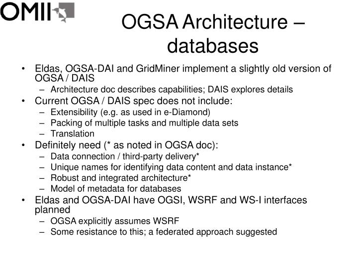 Ogsa architecture databases