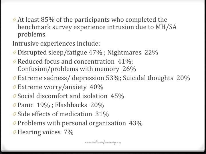 At least 85% of the participants who completed the benchmark survey experience intrusion due to MH/SA problems.