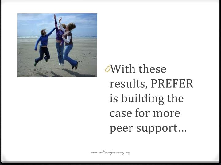 With these results, PREFER is building the case for more peer support…