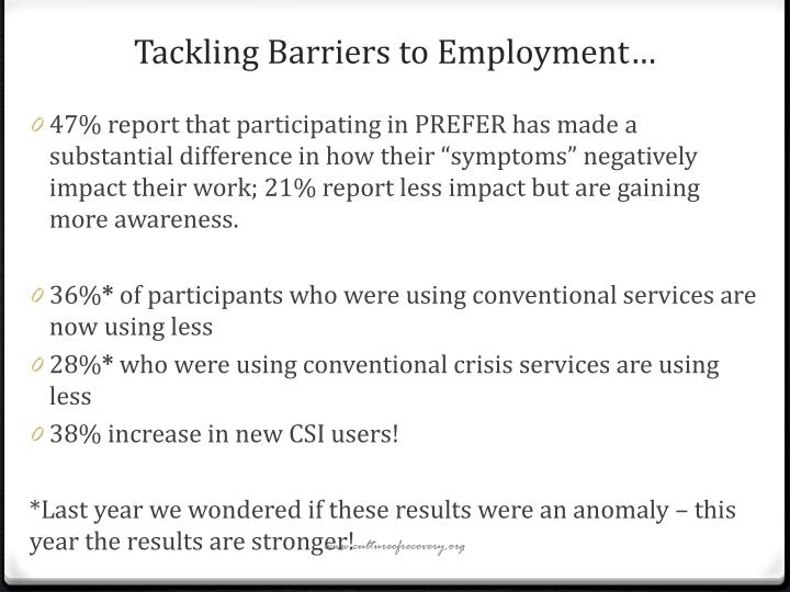 Tackling Barriers to Employment…