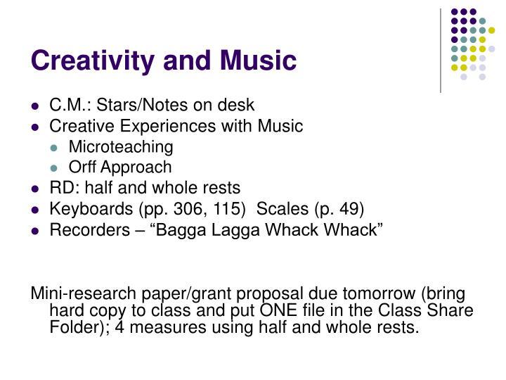 Creativity and music
