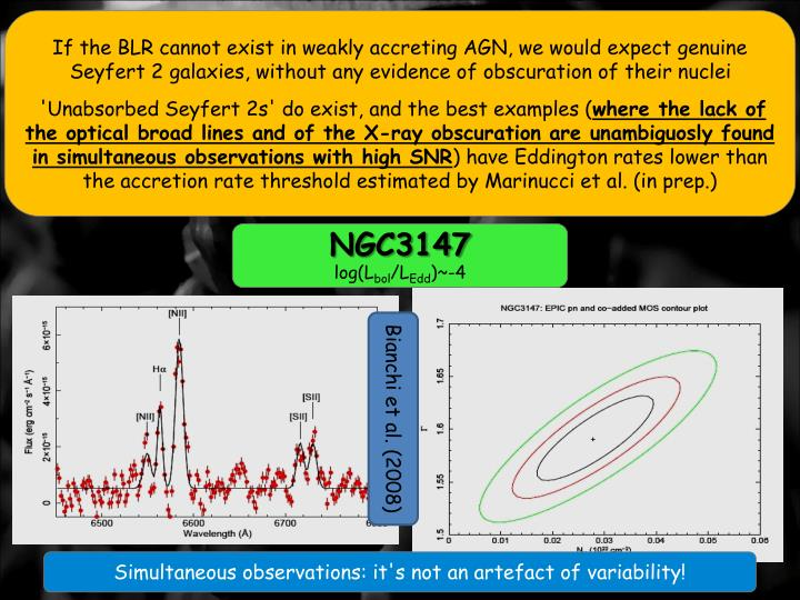 If the BLR cannot exist in weakly accreting AGN, we would expect genuine Seyfert 2 galaxies, without any evidence of obscuration of their nuclei