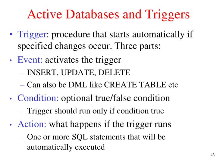 Active Databases and Triggers