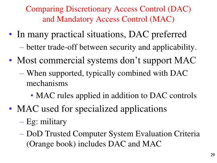 Comparing Discretionary Access Control (DAC)  and Mandatory Access Control (MAC)
