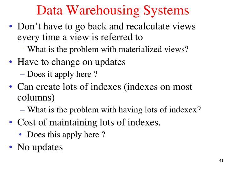 Data Warehousing Systems