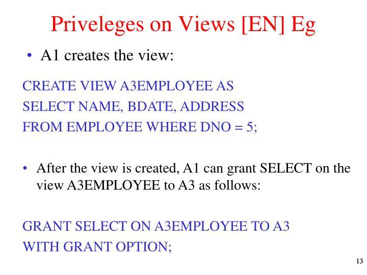 Priveleges on Views [EN] Eg