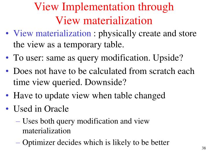 View Implementation through