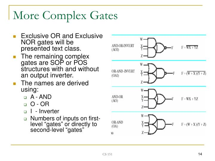 Exclusive OR and Exclusive NOR gates will be presented text class.