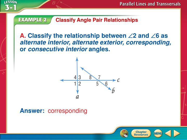 Classify Angle Pair Relationships