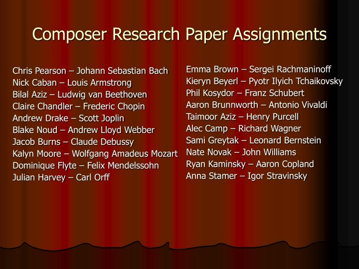 Composer research paper assignments