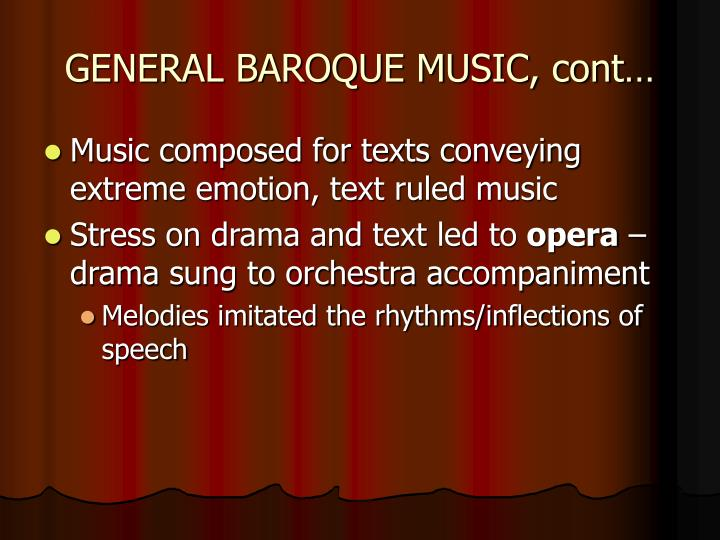 GENERAL BAROQUE MUSIC, cont…